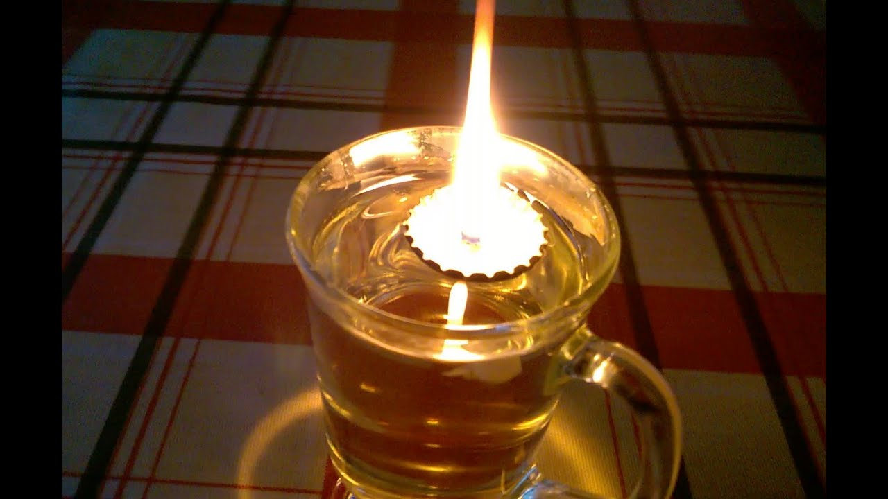 How To Make A Floating Wick Oil Lamp From A Bottle Top