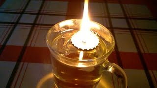 How To Make A Floating Wick Oil Lamp (from a bottle top)