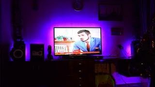 Светодиодная лента подсветка телевизора своими руками(Видео о том как сделать подсветку телевизора своими руками из светодиодной ленты на пульте управления..., 2016-01-02T11:26:48.000Z)