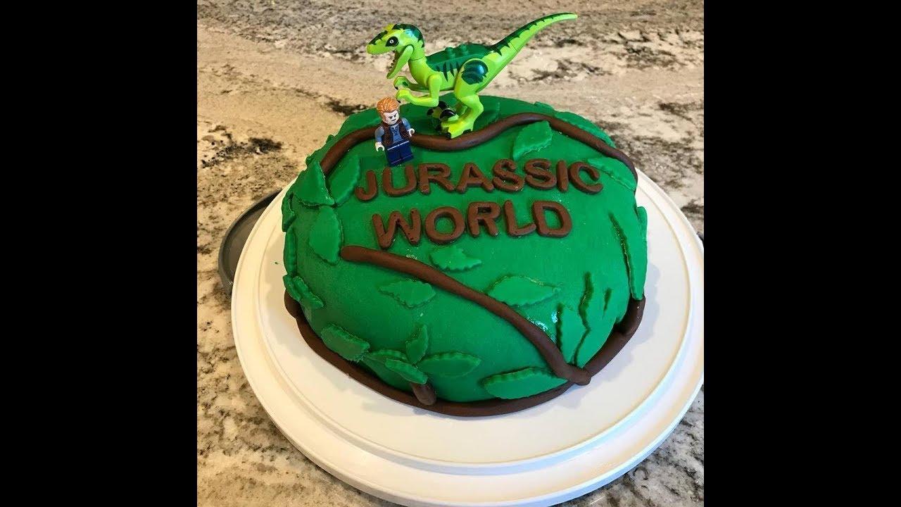 Jurassic World Birthday Cake Working With Fondant Youtube