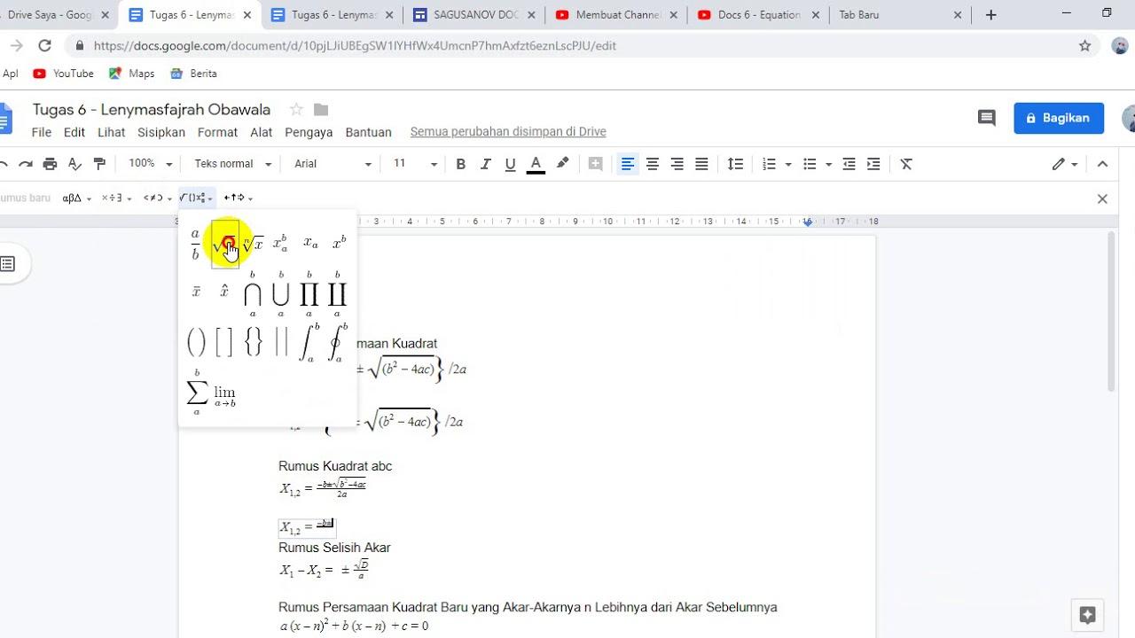 Tutorial Membuat Rumus Matematika Di Google Docs Youtube