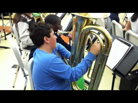 Trevor Brooks Tuba in Band Class at Anthony Wayne Middle School