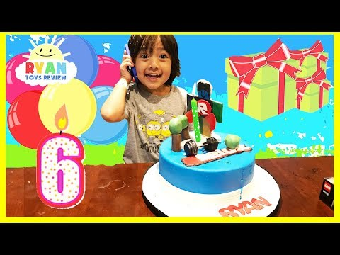 Ryan\'s 6th Birthday Party! First Cell Phone Surprise Toys Opening Presents Roblox Toys