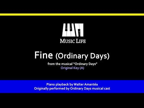 Fine (Ordinary Days) - Piano playback for Cover / Karaoke