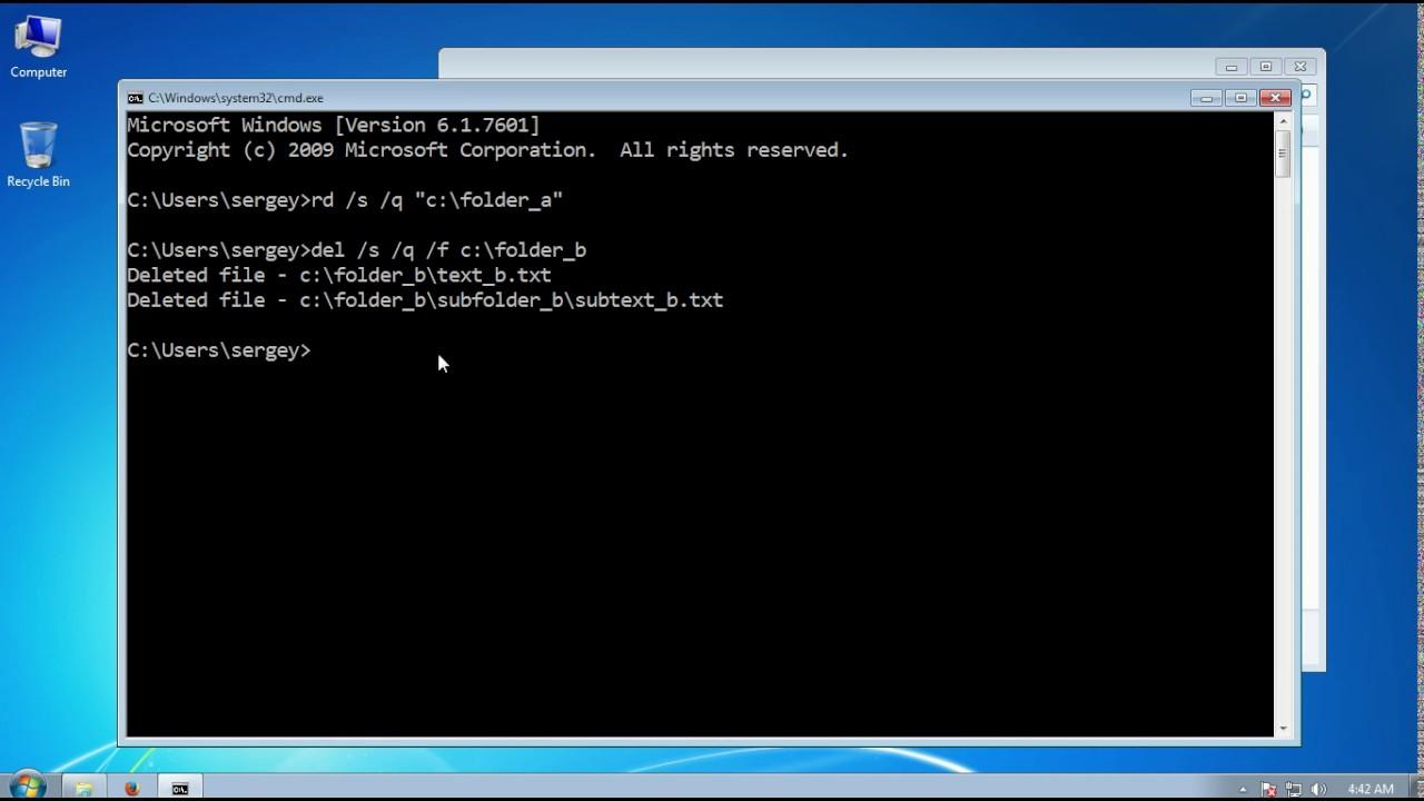 How to delete folder using cmd in Windows