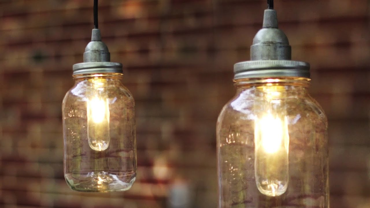 Mason Jar Lighting Fixtures Cord Light Youtube Diy Mason Jar Light Lantern Youtube