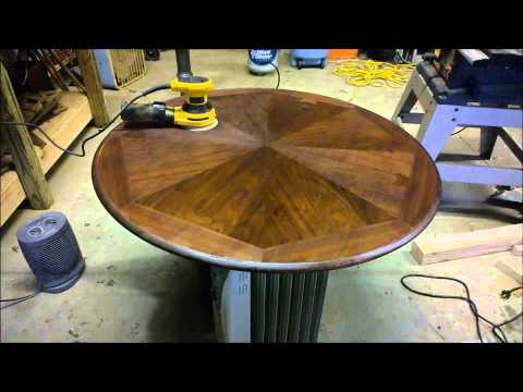 Refinishing A Wood Table With A Metal Base