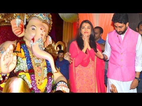 Aishwarya Rai & Abhishekh Bachchan's Ganpati 2016 Full Video HD Byculla, Mumbai Pendal Visit