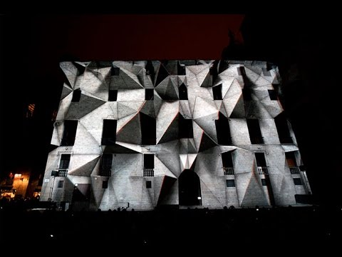 Axioma 3D projection mapping at LLUM BCN Festival 2016 in Barcelona.