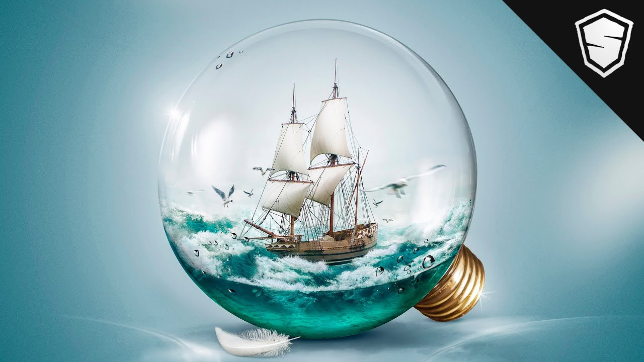 Sailing Boat In A Light Bulb Speed Art YouTube