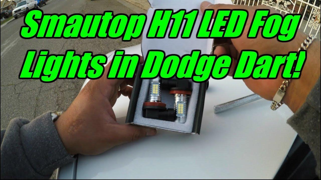 smautop h11 led fog light install + review - dodge dart