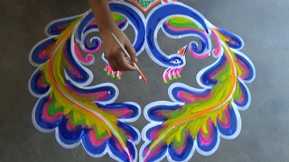 Peacock rangoli design with 7x4 dots //kolam designs with dots // muggulu designs with dots