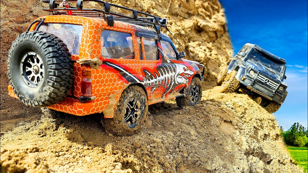 RC CARS Cliff Drops Extreme Adventures 4x4 - Toyota Land Cruiser and Mercedes G63