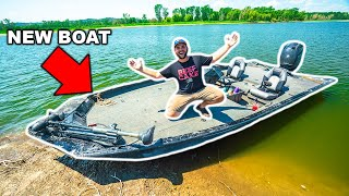 Taking My NEW BOAT Fishing in the BACKYARD POND!!!