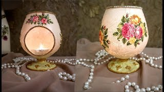 DIY | CANDLE  LIGHT WINE GLASS ,DIY home decor