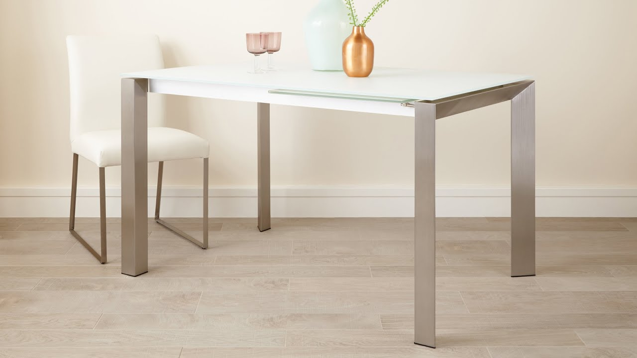 White Frosted Glass Extending Dining Table With Brushed Metal Legs