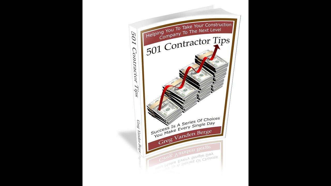 501 Contractor Tips Book Review Greg Vanden Berge Youtube