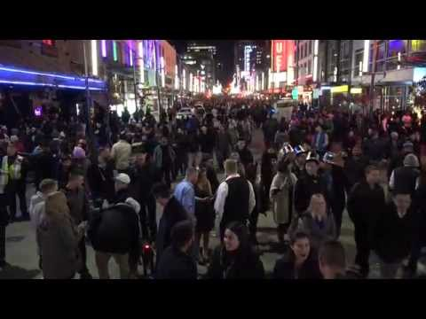 Vancouver Happy New Year's Party Granville St 4K Video 2015 B.C. Canada