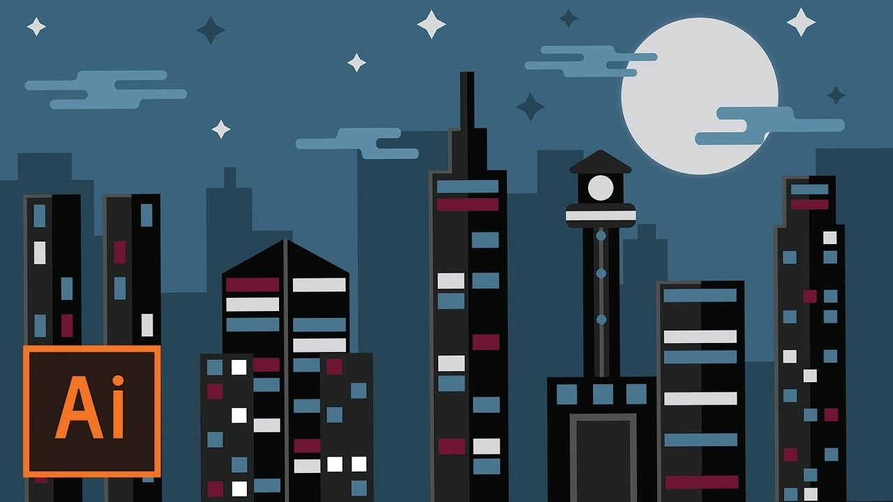 Nike 3d Wallpaper Illustrator Tutorial Night Time City Landscape
