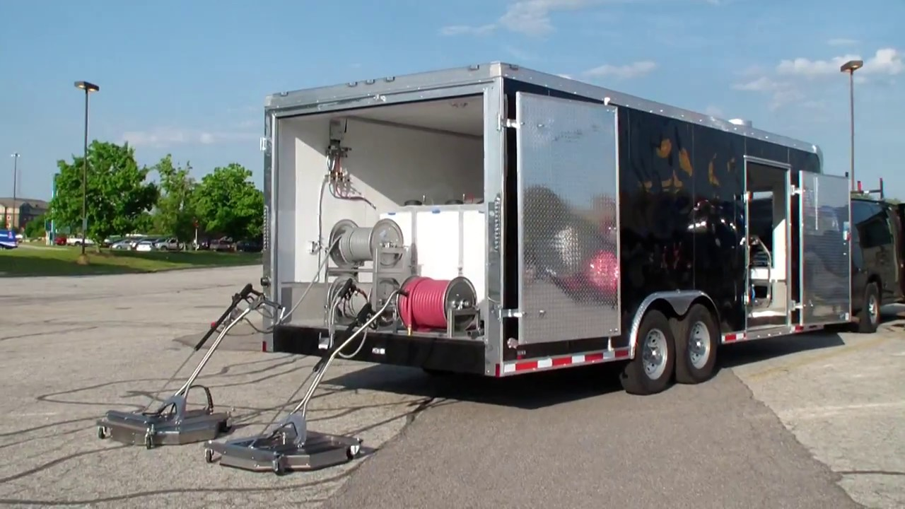 Hot water pressure washer in a 22' enclosed trailer