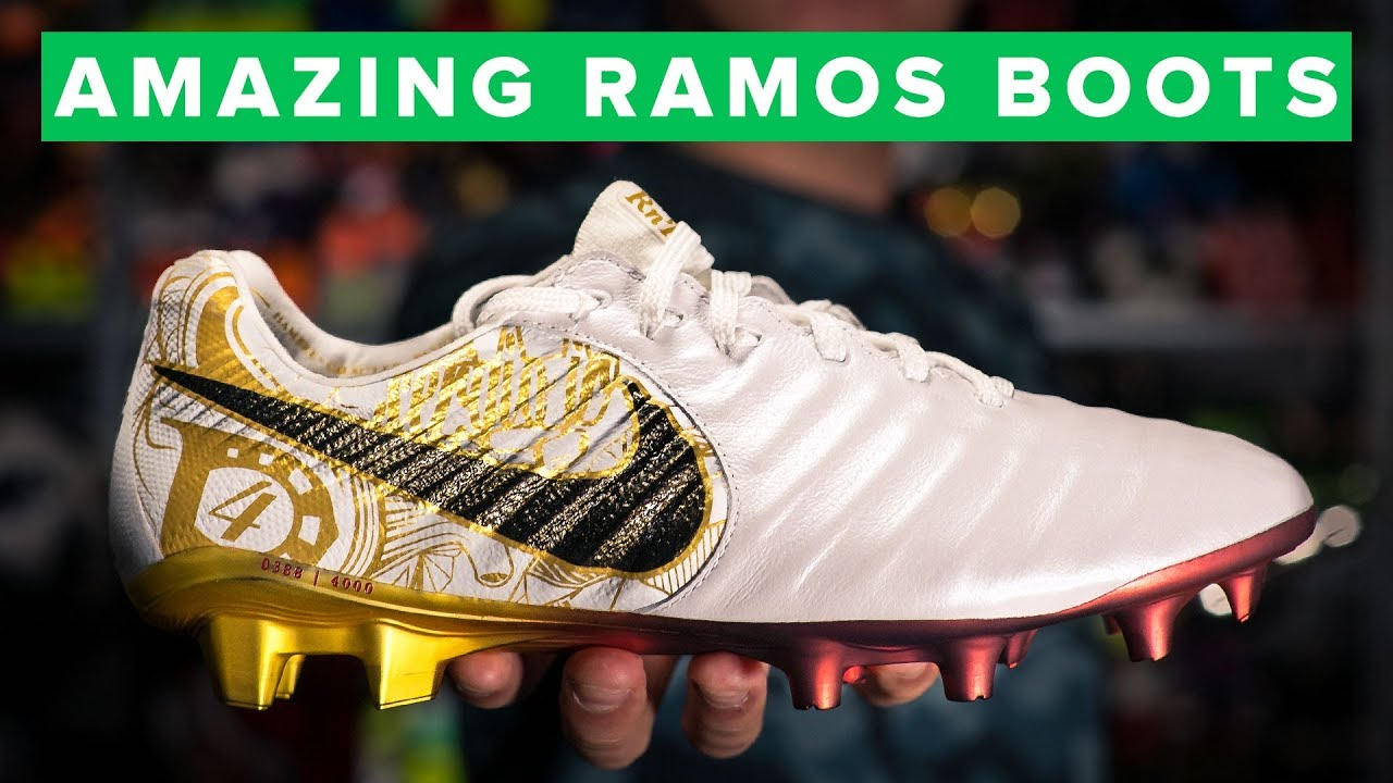 768fb282f3f WHITE   GOLD Nike Tiempo Legend 7 Sergio Ramos boots - YouTube