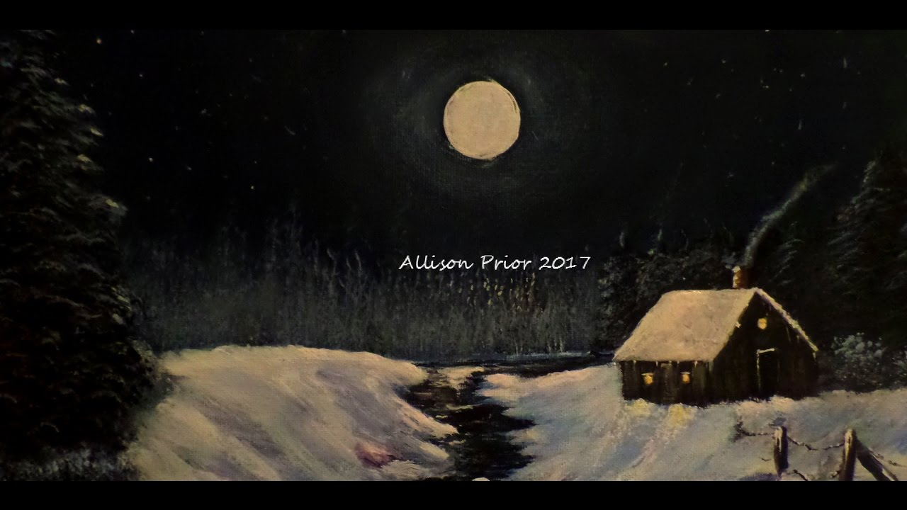 How To Paint A Winter Cabin In The Woods With Acrylic Lesson 1 Night Sky Moon And Glow Trees