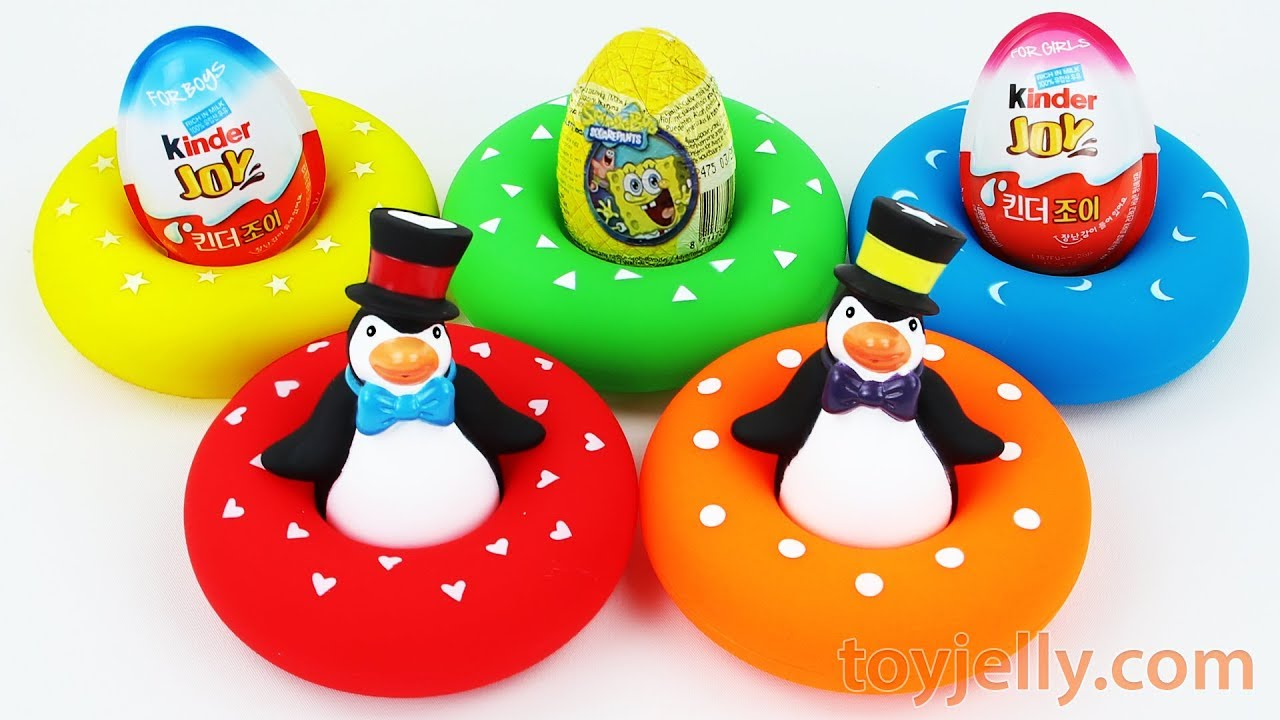 Learn Colors Penguin Tube Surprise Kinder Joy Egg Toys Baby Fonger ...