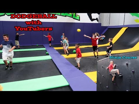 GET AIR TRAMPOLINE PARK with YOUTUBERS | DODGEBALL | CLAMOUR 2018