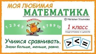 Учимся сравнивать. Знаки больше, меньше, равно. Математика 1 класс. Подготовка к школе.