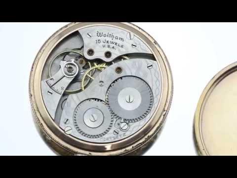 Antique Art Deco Waltham 10K GF Open Face 15 Jewel  1924 Pocket Watch Size 12