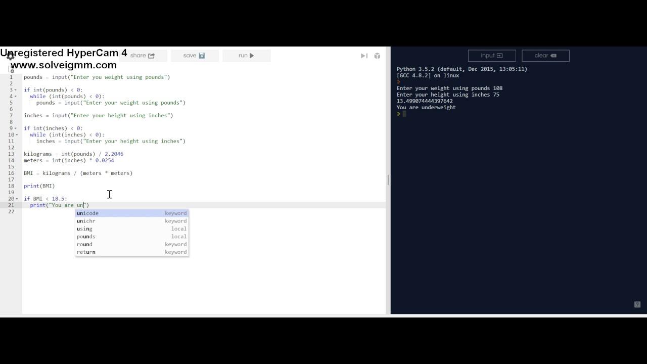 Python: Calculating Bmi