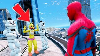 SPIDERMAN SAVES CHICA FROM EVIL FROST WHITE FREDDY! (GTA 5 Mods For Kids FNAF Funny Moments)