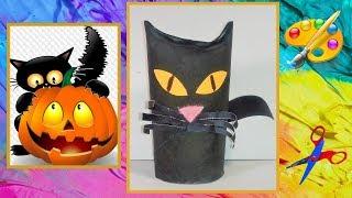 DIY Супер просто . Черная кошка на Хэллоуин.  A Black cat for Halloween