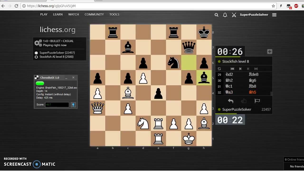 ChessBotX vs StockFish 8 at lichess org