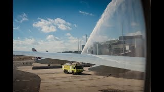 QATAR AIRWAYS Inaugural Flight Doha – Canberra - Water Cannon Salute on 12 February 2018