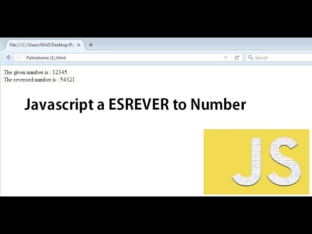 Javascript to reverse a given number | Palindrome program