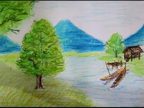 Menggambar Pemandangan Alam Gunung Pohon Gambar Anak Smp