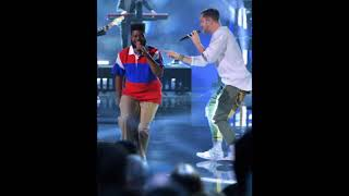 Khalid and Dan Reynolds perform during the 2017 American Music Awards at Microsoft Theater in LA