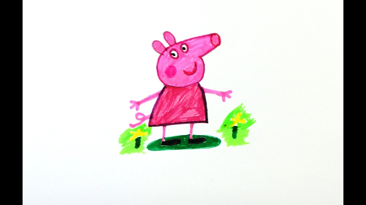 peppa pig draw and color how to draw peppa pig my dear peppa