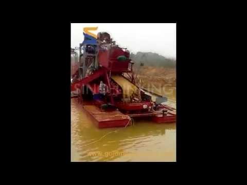 23- SLK-WD200 gold bucket dredger working in Afirca