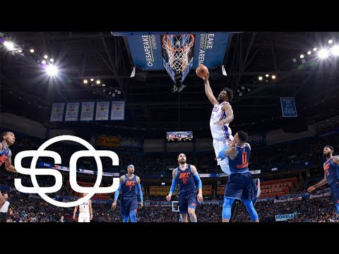Joel Embiid pays Russell Westbrook back with huge dunk | SportsCenter | ESPN