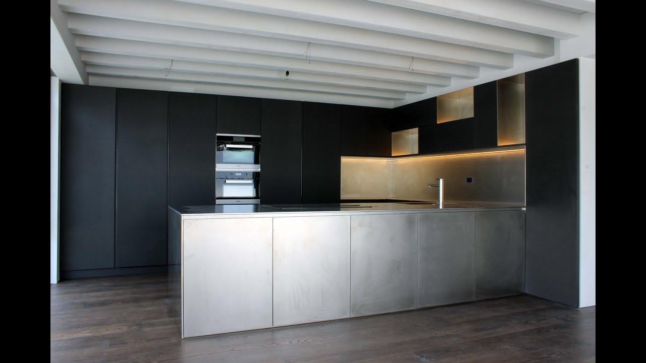 Bespoke kitchen steel Valchromat design by Luca Polloni - YouTube