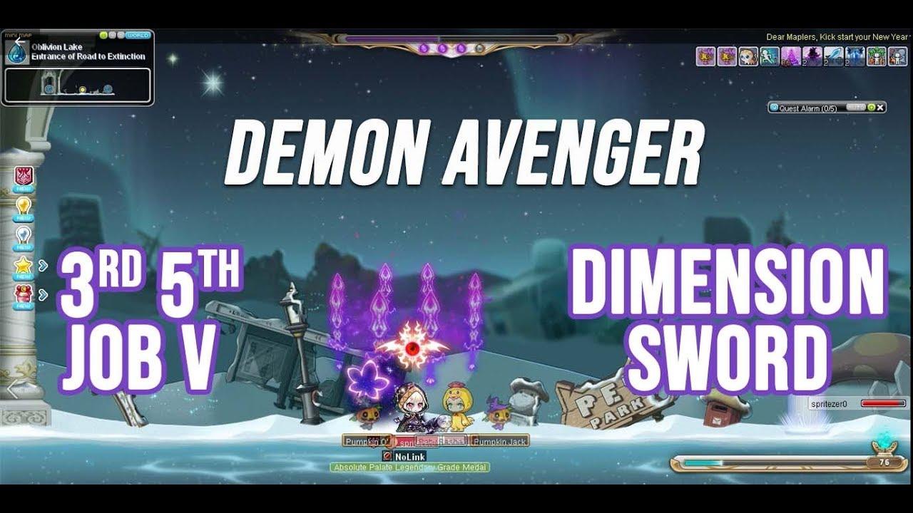 [MSEA] Demon Avenger 3rd 5th job skill: Dimension sword mobbing \u0026 bossing showcase