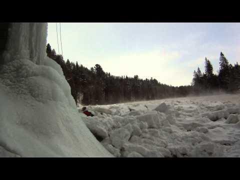 Dangerous winter flash flood in Pont Rouge, Quebec, Canada