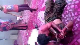 Indian bhabhi & devar playing holi