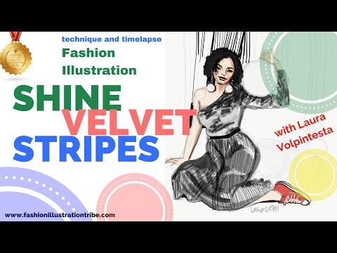 Fashion Illustration on iPad Pro: Drawing crushed velvet in Adobe Draw App
