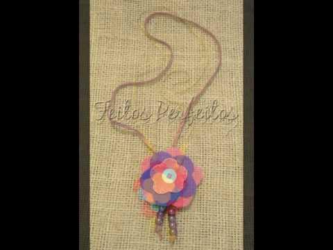 Colares com flor de feltro