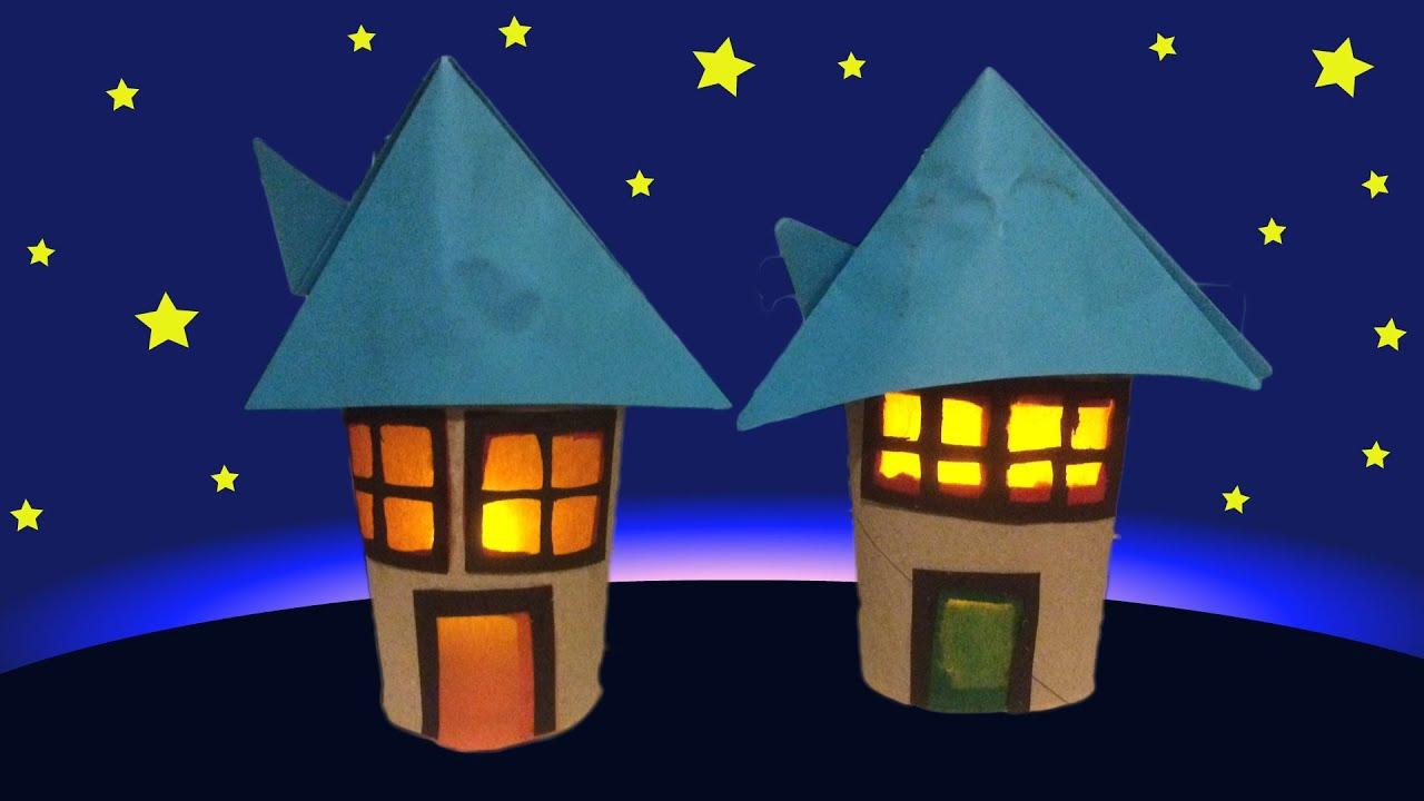 Wc rol huisje knutselen met een nepkaarsje lichtje al doovi - Huisje met vide ...