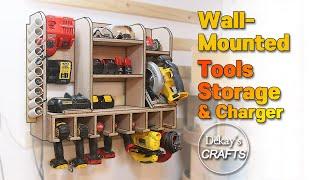 Almacenamiento de herramientas montadas en la pared con cargador [Woodworks]