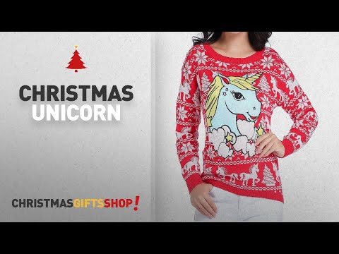 Top Christmas Unicorn Ideas: v28 Ugly Christmas Sweater, Women Girl Junior Unicorn Clothes Jumper